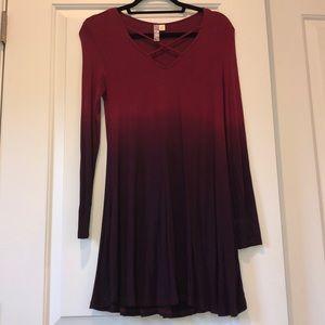 Long sleeve swing dress in ombré red